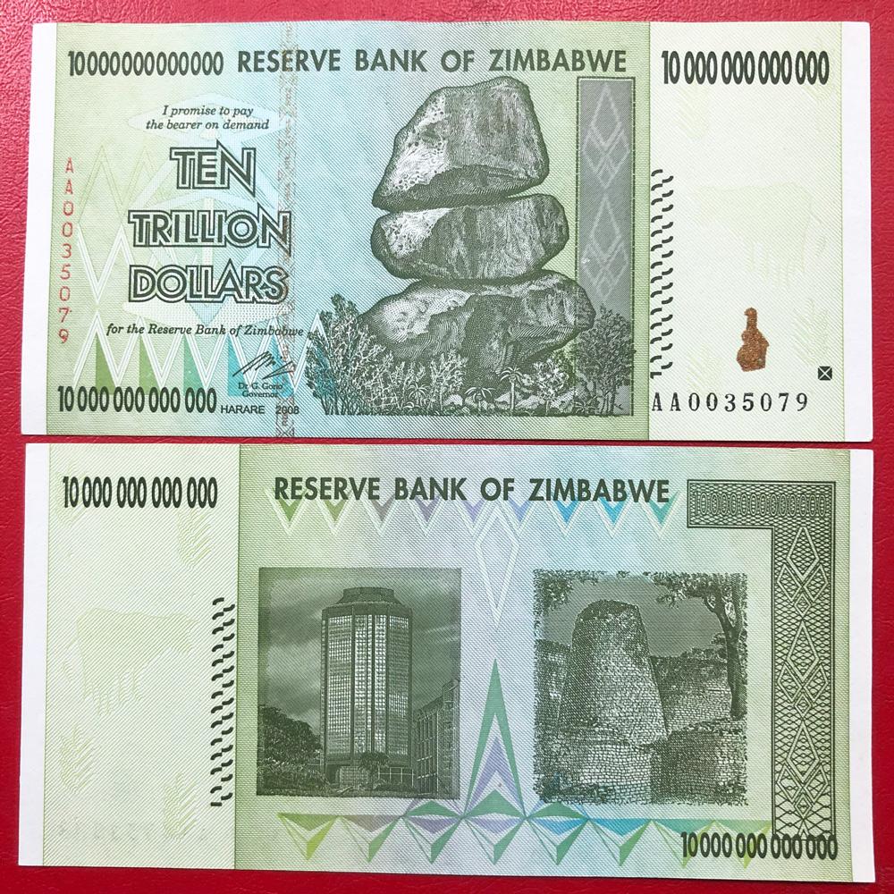 tiền zimbabwe 10 nghìn tỷ