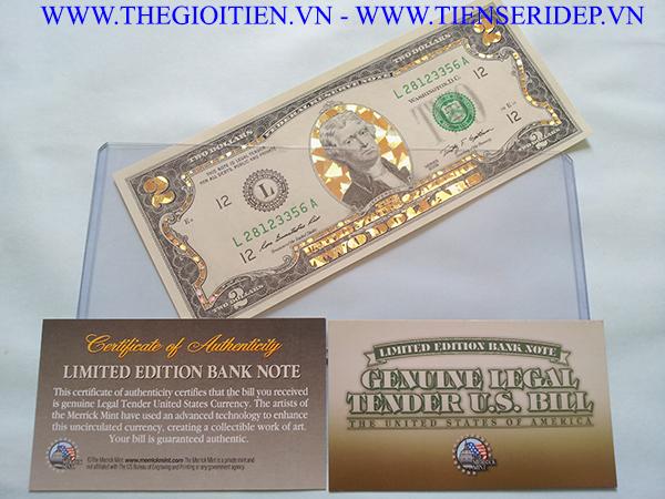 2 đô mạ vàng 3d hình khối