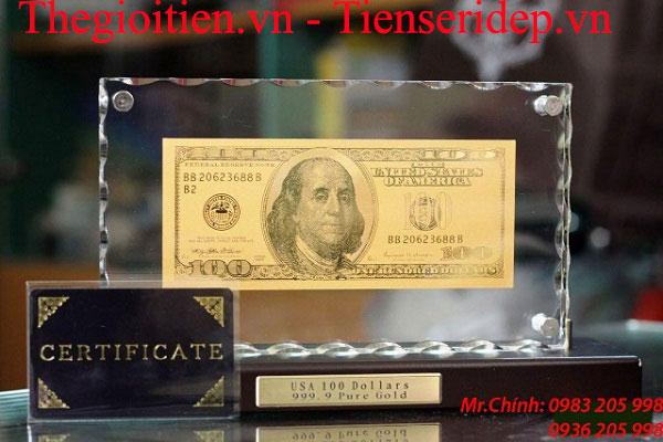 thẻ chứng nhận của tờ tiền 100 usd mạ vàng
