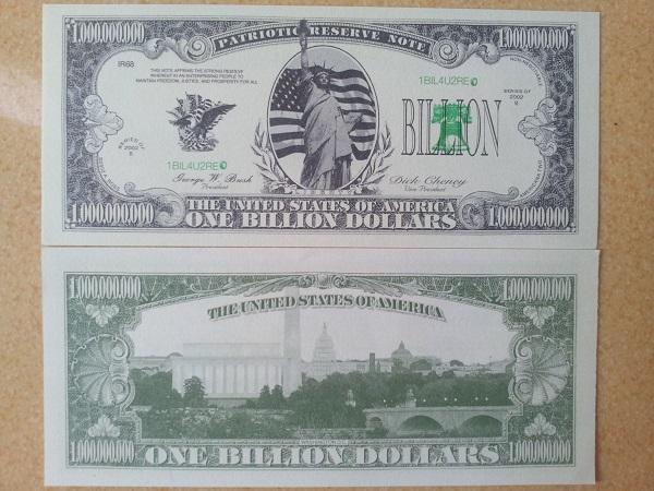 tờ tiền 1 tỷ usd