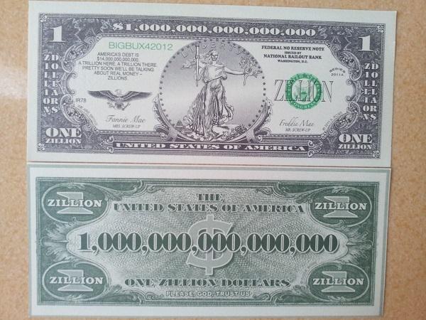 Tờ tiền 1 triệu tỷ usd