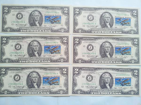 2 usd 1976 dán tem bang số 10 hiếm