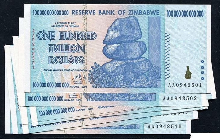 Tiền Zimbabwe 100 nghìn tỷ 730