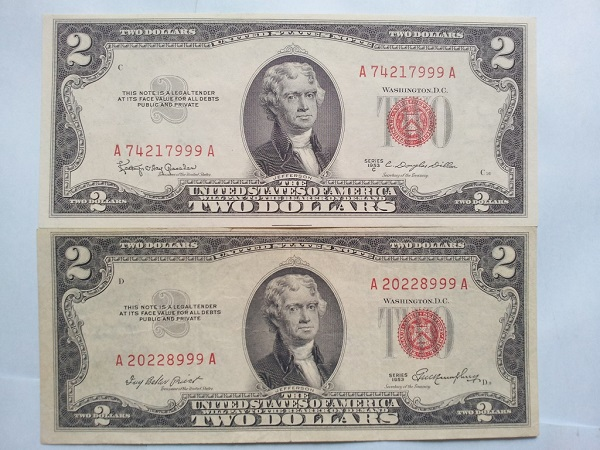 2 usd 1953 seri 999