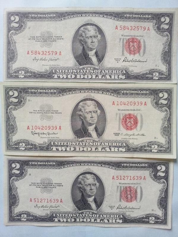2 usd 1953 và 1963 seri thần tài 39, 79