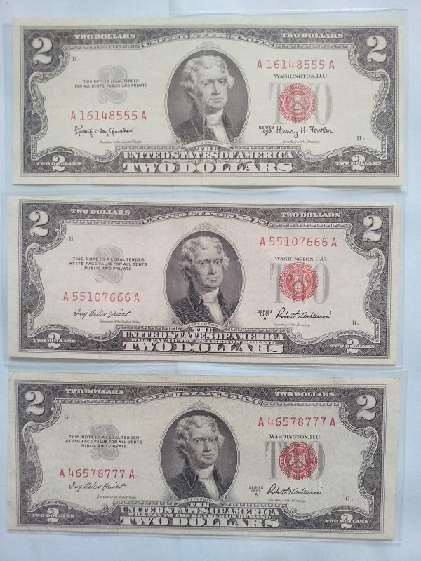 2 usd 1953 seri 5, 6, 7