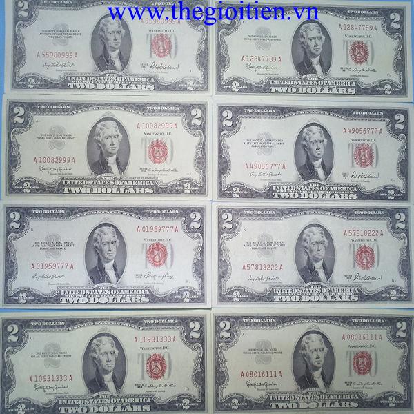 tiền 2usd 1953 seri đẹp