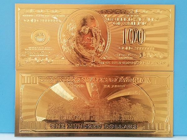 100 usd mạ vàng 24k