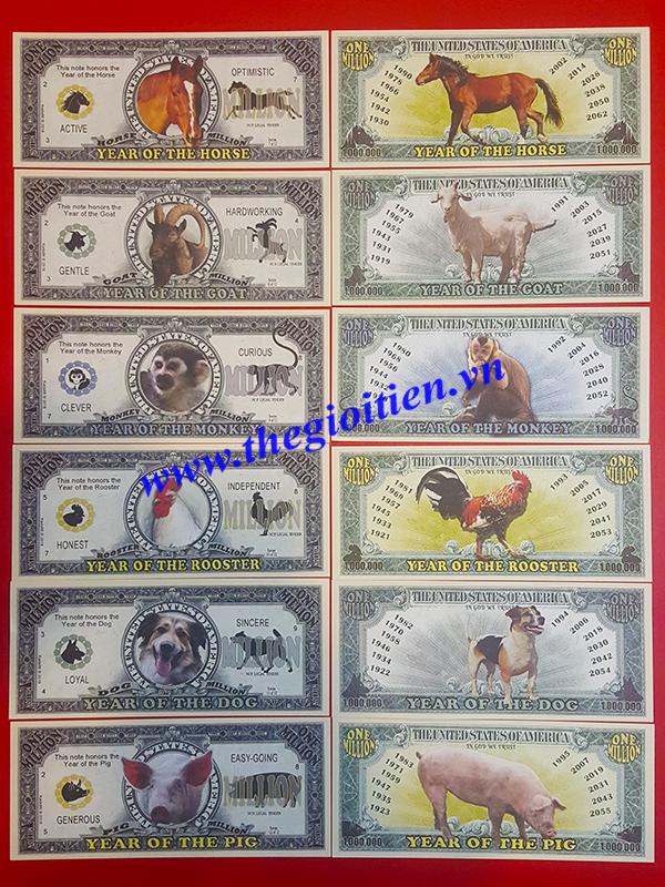 tiền giấy 12 con giáp triệu đô