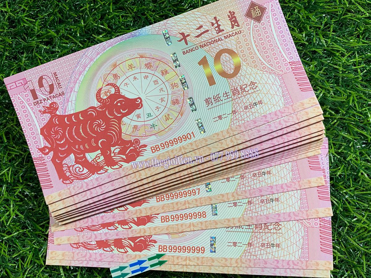 tiền in hình trâu 10 macao số đẹp