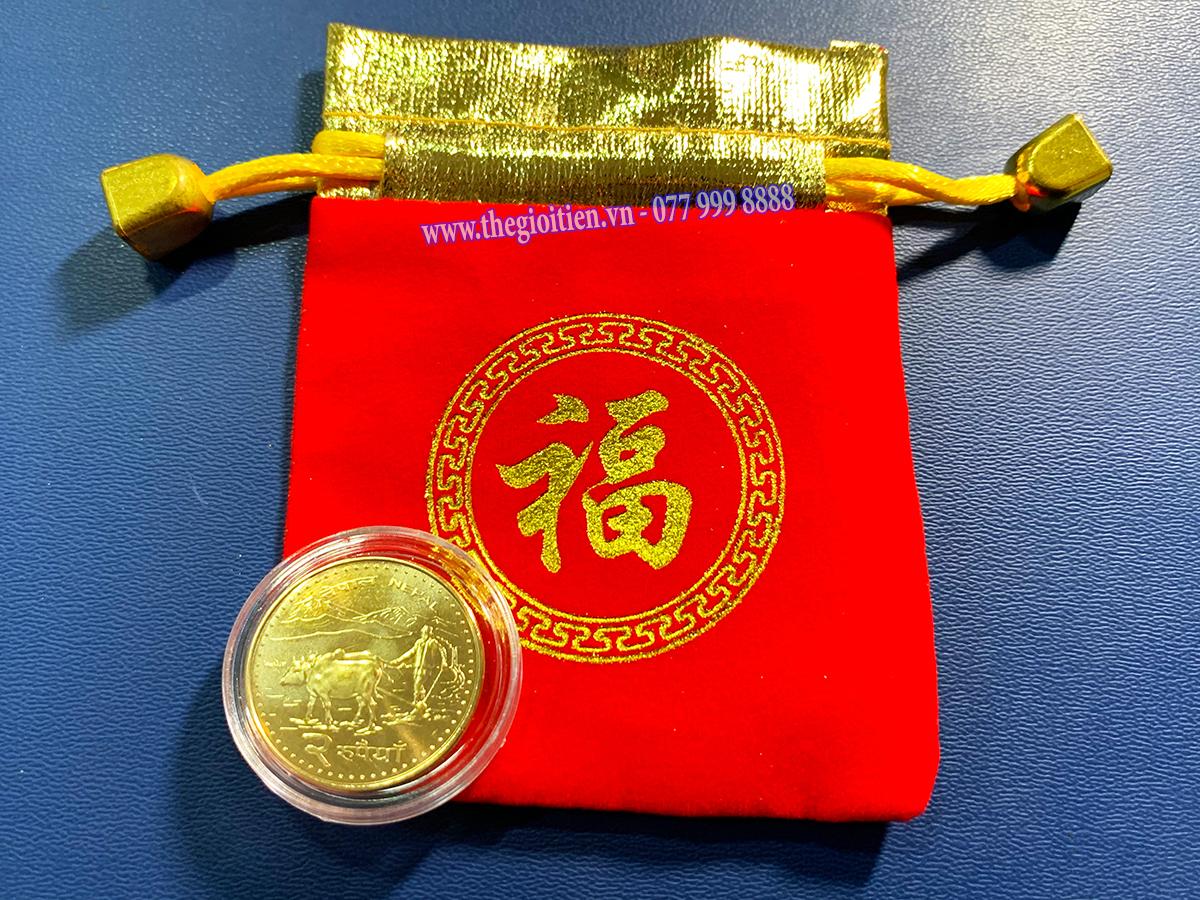 tiền xu hình con trâu nepal