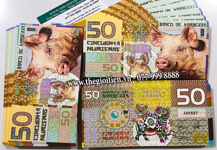tiền con lợn 50 úc giấy kamberra