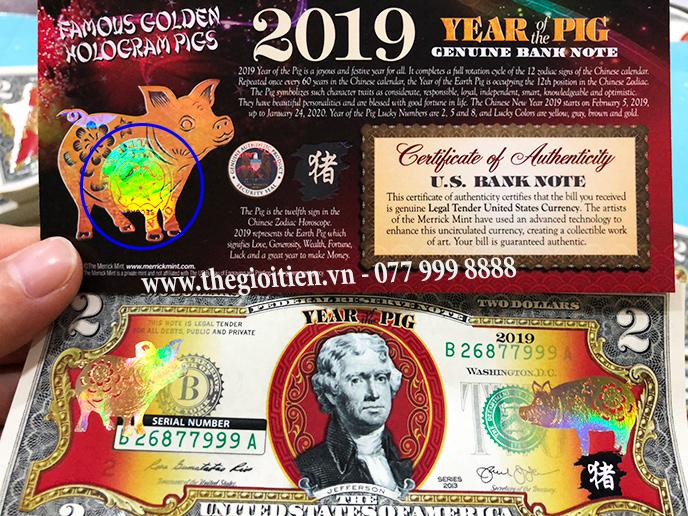 tờ tiền 2 đô heo mạ vàng 2019