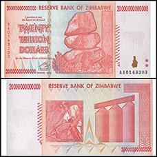 tiền zimbabwe 20 nghìn tỷ