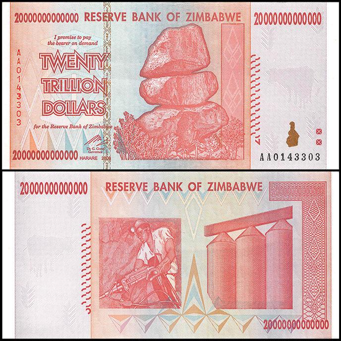 tiền zimbabwe 20 nghìn tỷ 600